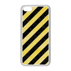 Stripes3 Black Marble & Yellow Watercolor (r) Apple Iphone 5c Seamless Case (white)