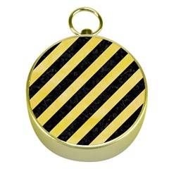 Stripes3 Black Marble & Yellow Watercolor (r) Gold Compasses