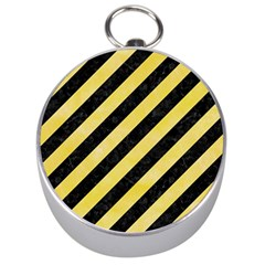 Stripes3 Black Marble & Yellow Watercolor (r) Silver Compasses