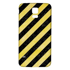 Stripes3 Black Marble & Yellow Watercolor (r) Samsung Galaxy S5 Back Case (white)