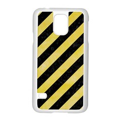 Stripes3 Black Marble & Yellow Watercolor (r) Samsung Galaxy S5 Case (white)