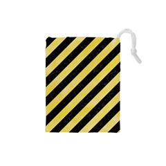 Stripes3 Black Marble & Yellow Watercolor (r) Drawstring Pouches (small)