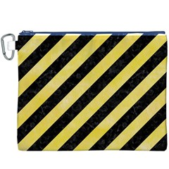 Stripes3 Black Marble & Yellow Watercolor (r) Canvas Cosmetic Bag (xxxl)