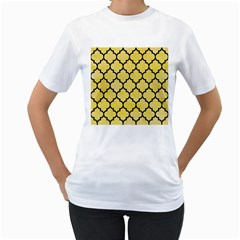 Tile1 Black Marble & Yellow Watercolor Women s T Shirt (white) (two Sided)