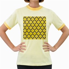 Tile1 Black Marble & Yellow Watercolor Women s Fitted Ringer T Shirts