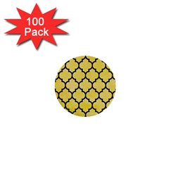 Tile1 Black Marble & Yellow Watercolor 1  Mini Buttons (100 Pack)