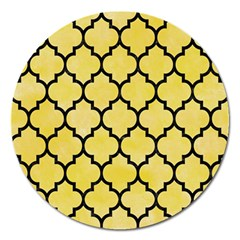 Tile1 Black Marble & Yellow Watercolor Magnet 5  (round)