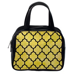 Tile1 Black Marble & Yellow Watercolor Classic Handbags (one Side)