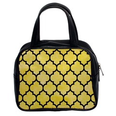 Tile1 Black Marble & Yellow Watercolor Classic Handbags (2 Sides)