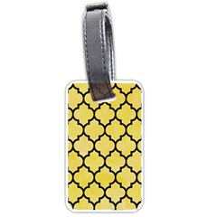 Tile1 Black Marble & Yellow Watercolor Luggage Tags (two Sides)