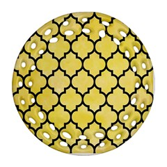Tile1 Black Marble & Yellow Watercolor Round Filigree Ornament (two Sides)