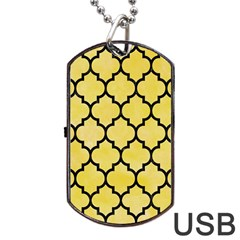Tile1 Black Marble & Yellow Watercolor Dog Tag Usb Flash (two Sides)