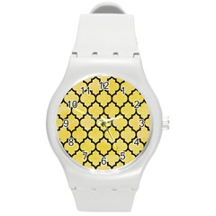 Tile1 Black Marble & Yellow Watercolor Round Plastic Sport Watch (m)