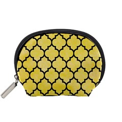 Tile1 Black Marble & Yellow Watercolor Accessory Pouches (small)