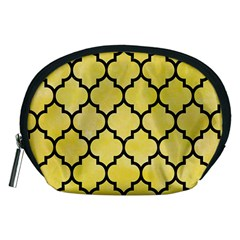 Tile1 Black Marble & Yellow Watercolor Accessory Pouches (medium)