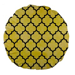 Tile1 Black Marble & Yellow Watercolor Large 18  Premium Flano Round Cushions