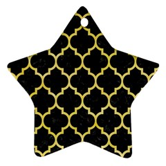 Tile1 Black Marble & Yellow Watercolor (r) Ornament (star)