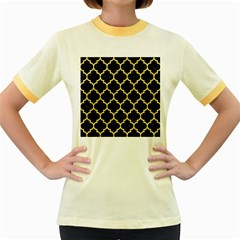 Tile1 Black Marble & Yellow Watercolor (r) Women s Fitted Ringer T Shirts