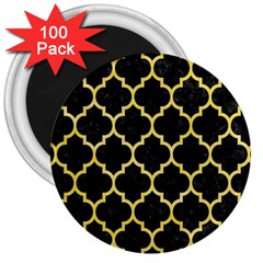 Tile1 Black Marble & Yellow Watercolor (r) 3  Magnets (100 Pack)