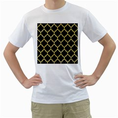 Tile1 Black Marble & Yellow Watercolor (r) Men s T Shirt (white) (two Sided)