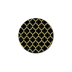 Tile1 Black Marble & Yellow Watercolor (r) Golf Ball Marker (10 Pack)
