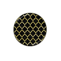 Tile1 Black Marble & Yellow Watercolor (r) Hat Clip Ball Marker
