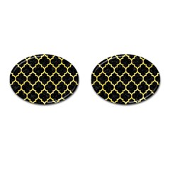 Tile1 Black Marble & Yellow Watercolor (r) Cufflinks (oval)