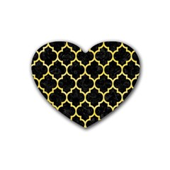 Tile1 Black Marble & Yellow Watercolor (r) Rubber Coaster (heart)