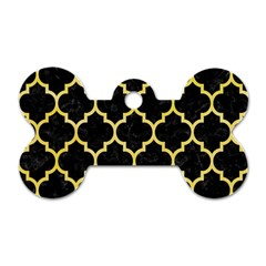 Tile1 Black Marble & Yellow Watercolor (r) Dog Tag Bone (one Side)