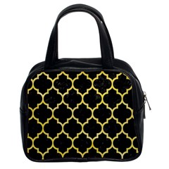 Tile1 Black Marble & Yellow Watercolor (r) Classic Handbags (2 Sides)