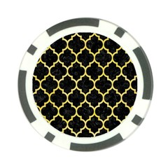 Tile1 Black Marble & Yellow Watercolor (r) Poker Chip Card Guard (10 Pack)