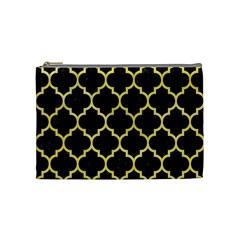 Tile1 Black Marble & Yellow Watercolor (r) Cosmetic Bag (medium)