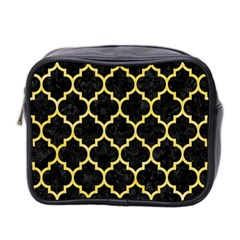 Tile1 Black Marble & Yellow Watercolor (r) Mini Toiletries Bag 2 Side