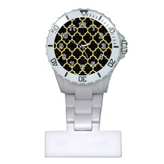 Tile1 Black Marble & Yellow Watercolor (r) Plastic Nurses Watch