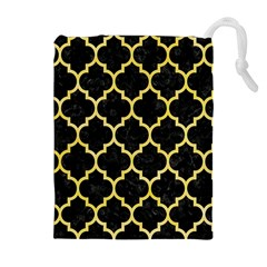 Tile1 Black Marble & Yellow Watercolor (r) Drawstring Pouches (extra Large)