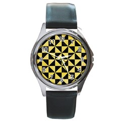 Triangle1 Black Marble & Yellow Watercolor Round Metal Watch