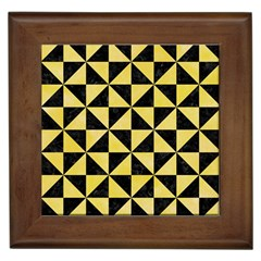 Triangle1 Black Marble & Yellow Watercolor Framed Tiles
