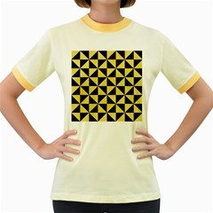 Triangle1 Black Marble & Yellow Watercolor Women s Fitted Ringer T Shirts