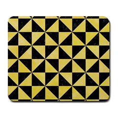 Triangle1 Black Marble & Yellow Watercolor Large Mousepads