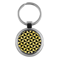 Triangle1 Black Marble & Yellow Watercolor Key Chains (round)