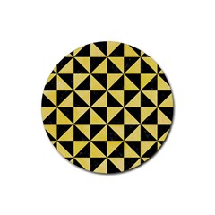 Triangle1 Black Marble & Yellow Watercolor Rubber Coaster (round)