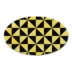 Triangle1 Black Marble & Yellow Watercolor Oval Magnet