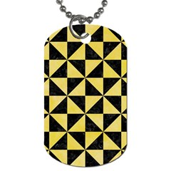 Triangle1 Black Marble & Yellow Watercolor Dog Tag (two Sides)