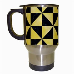 Triangle1 Black Marble & Yellow Watercolor Travel Mugs (white)