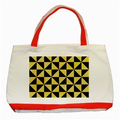 Triangle1 Black Marble & Yellow Watercolor Classic Tote Bag (red)