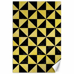 Triangle1 Black Marble & Yellow Watercolor Canvas 20  X 30