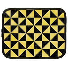 Triangle1 Black Marble & Yellow Watercolor Netbook Case (large)