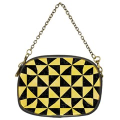 Triangle1 Black Marble & Yellow Watercolor Chain Purses (one Side)