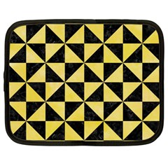 Triangle1 Black Marble & Yellow Watercolor Netbook Case (xl)