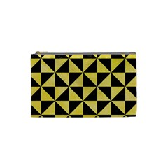 Triangle1 Black Marble & Yellow Watercolor Cosmetic Bag (small)